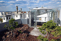 A dramatic roof garden made out of volcanic rocks and conifers is the setting for this glass and steel bathroom-in-the-sky