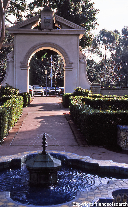 Balboa Park: Alcazar Garden, tiled fountain. arched entrance. Photo Jan. 1987.