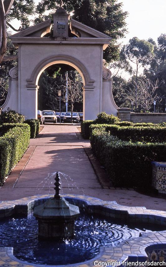 Balboa Park: Alcazar Garden, tiled fountain. arched entrance. Photo Jan. 1987.