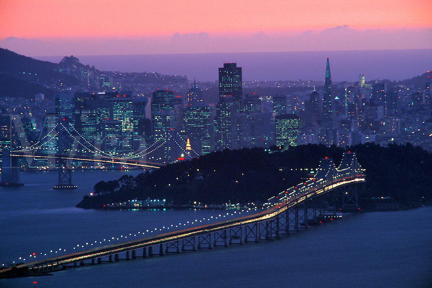 Evening light over San Francisco, as seen from the Berkeley Hills, California.