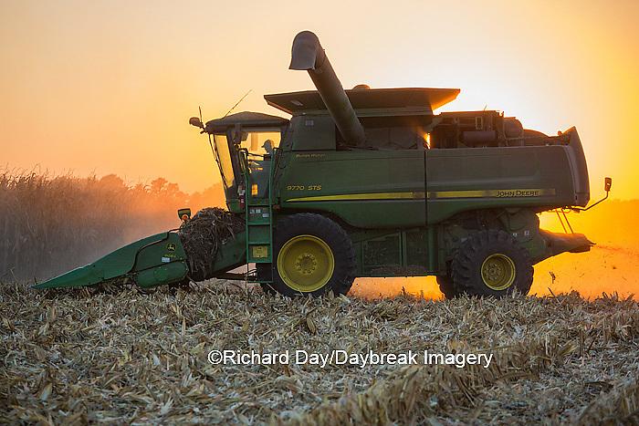 63801-06718 John Deere combine harvesting corn at sunset, Marion Co., IL