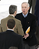 Norm Bazin (UML - Head Coach), Jerry York (BC - Head Coach) - The University of Massachusetts Lowell River Hawks defeated the Boston College Eagles 4-2 (EN) on Tuesday, February 26, 2013, at Kelley Rink in Conte Forum in Chestnut Hill, Massachusetts.
