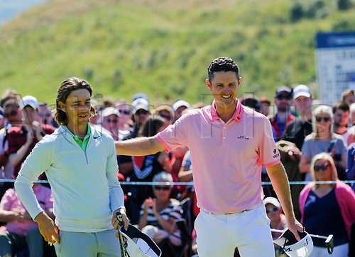 July 8th 2017, Portstewart Golf Club, Portstewart, Northern Ireland; Dubai Duty Free Irish Open Golf Championship, Day 3; Justin Rose (ENG) and Tommy Fleetwood (ENG) congratulate each other at the end of their third round of the Dubai Duty Free Irish Open
