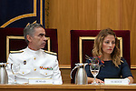 Admiral Fernando García Sánchez, Chief of Defense Staff (JEMAD) (l) during the close of the XIII year of staff of the Armed Forces at the Center for Advanced Studies of National Defense (CESEDEN).(Alterphotos/Ricky)