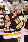 "Mike Connolly (Duluth - 22), Dale ""Hoagie"" Haagenson (Duluth - Manager) - The University of Minnesota-Duluth Bulldogs celebrated their 2011 D1 National Championship win on Saturday, April 9, 2011, at the Xcel Energy Center in St. Paul, Minnesota."