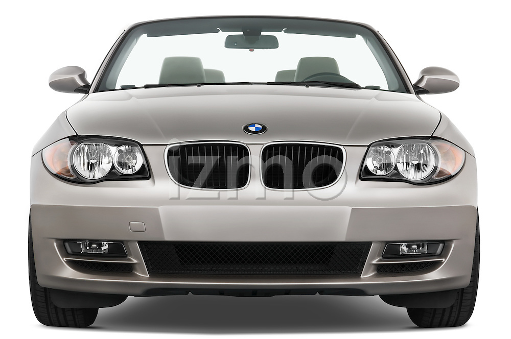 Straight front view of a 2007 - 2011 BMW 1-Series 128i convertible.