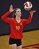 Helena Gunther #10 of Sacred Heart Academy serves during the second set of a CHSAA varsity girls volleyball match against host St. John the Baptist High School in West Islip on Thursday, Oct. 12, 2017.