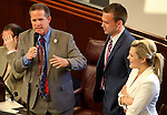 Nevada Sen. Mark Hutchison, R-Las Vegas, introduces his daughter and son-in-law on the Senate floor at the Legislative Building in Carson City, Nev., on Friday, April 19, 2013. .Photo by Cathleen Allison