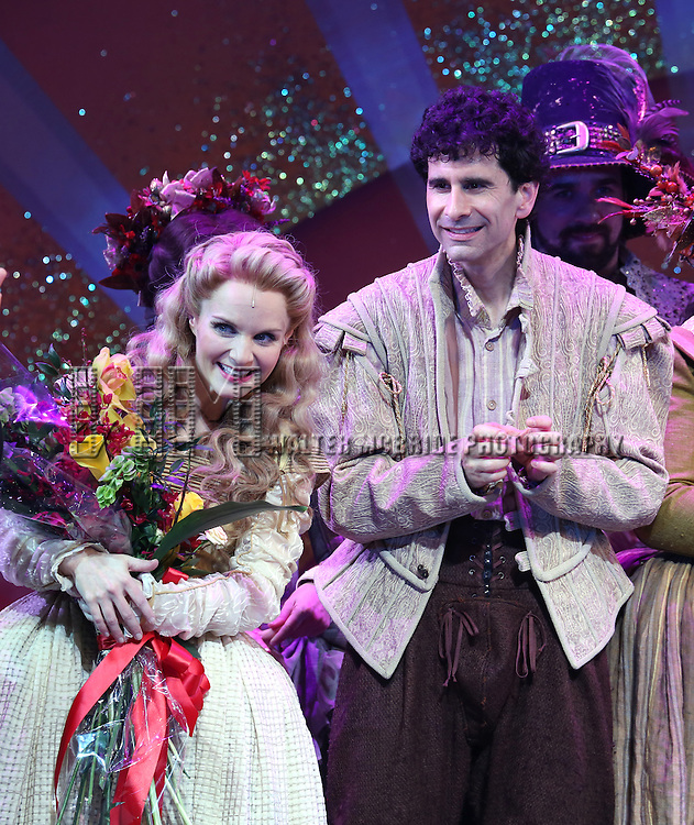 Kate Reinders and John Cariani during the Broadway Opening Night Curtain Call for 'Something Rotten' at the St. James Theatre on April 22, 2015 in New York City.