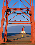 Menominee County, MI <br /> Menominee North Pier Light (1927) at the mouth of the Menominee River on Green Bay, Lake Michigan