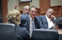 Senator Jeff Flake meets with students and faculty in the Cushman Board Room before speaking in Thorne Hall with Oxy Trustee Grant Woods '76 on Wednesday, February 5, 2020. Sen. Flake spoke at Oxy as part of Oxy's Jack Kemp '57 Distinguished Lecture Series.<br /> <br /> (Photo by John Valenzuela, Freelance Photographer)