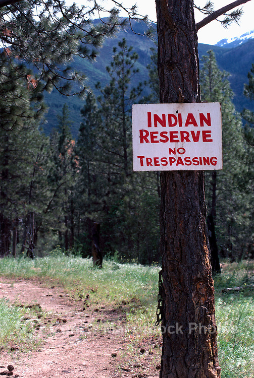 No Trespassing Sign posted on a Tree, on an Indian Reserve near the Stein Valley, BC, British Columbia, Canada