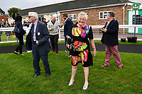A happy member of the winning syndicate after Move Over won The M J Church British EBF Novice Stakes (Plus 10) (Div 1) during Afternoon Racing at Salisbury Racecourse on 7th August 2017