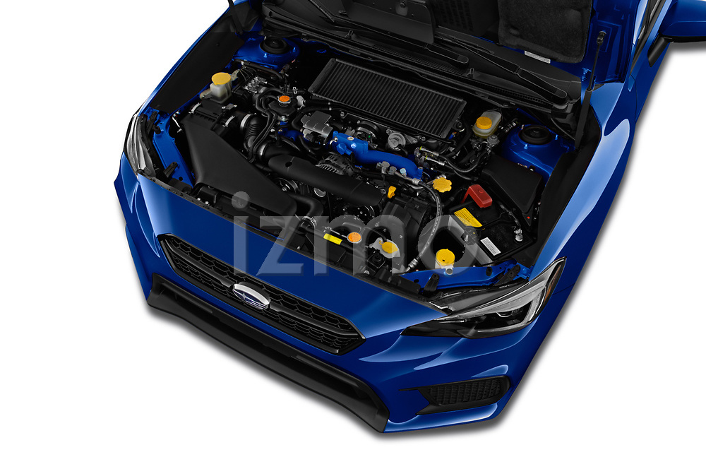 Car stock 2019 Subaru WRX STI Base 4 Door Sedan engine high angle detail view