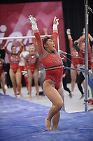 Arkansas' Jessica Yamzon celebrates Friday, Feb. 7, 2020, after her performance in the bars portion of the Razorbacks' meet with Georgia in Barnhill Arena in Fayetteville. Visit  nwaonline.com/gymbacks/ for a gallery from the meet.<br /> (NWA Democrat-Gazette/Andy Shupe)