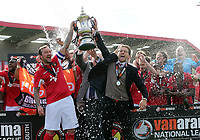 Ebbsfleet collect the National South play off trophy after Ebbsfleet United vs Chelmsford City, Vanarama National League South Play-Off Final Football at The PHB Stadium on 13th May 2017
