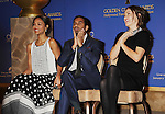 BEVERLY HILLS, CA- DECEMBER 12: (L-R) Actors Zoe Saldana, Aziz Ansari and Olivia Wilde attend the 71st Golden Globe Awards Nominations Announcement at The Beverly Hilton Hotel on December 12, 2013 in Beverly Hills, California.