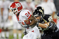 11 September 2010:  FIU wide receiver Greg Ellingson (82) chases down Rutgers wide receiver Mason Robinson (24) as he attempts to return a punt in the fourth quarter as the Rutgers Scarlet Knights defeated the FIU Golden Panthers, 19-14, at FIU Stadium in Miami, Florida.
