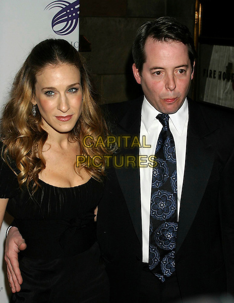 SARAH JESSICA PARKER & MATTHEW BRODERICK.The American Theatre Wing's Annual Spring Gala Honoring Matthew Broderick and Nathan Lane at Cipriani's, New York, NY, USA..April 10th, 2006.Ref: IW.half length black married husband wife funny face.www.capitalpictures.com.sales@capitalpictures.com.©Capital Pictures