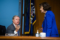 """United States Senator Lindsey Graham (Republican of South  Carolina), Chairman, US Senate Judiciary Committee, and ranking member United States Senator Dianne Feinstein (Democrat of California), Ranking Member, US Senate Judiciary Committee, are seen during the US Senate Judiciary Committee hearing titled """"Examining Best Practices for Incarceration and Detention During COVID-19,"""" in Dirksen Building in Washington, D.C. on Tuesday, June 2, 2020.<br /> Credit: Tom Williams / Pool via CNP/AdMedia"""
