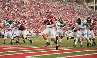 Hawgs Illustrated/BEN GOFF <br /> Austin Cantrell, Arkansas tight end, rushes for a touchdown in the third quarter against Coastal Carolina Saturday, Nov. 4, 2017, at Reynolds Razorback Stadium in Fayetteville.