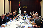 Palestinian President Mahmoud Abbas chairs a meeting of the Executive Committee of the PLO in the West Bank city of Ramallah on Sept. 13, 2017. Photo by Thaer Ganaim