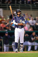 San Antonio Missions shortstop Jose Rondon (6) at bat during a game against the Midland RockHounds on April 21, 2016 at Nelson W. Wolff Municipal Stadium in San Antonio, Texas.  Midland defeated San Antonio 9-2.  (Mike Janes/Four Seam Images)