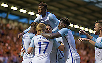 The team celebrate Lewis Baker (Vitesse Arnhem, loan from Chelsea) of England goal making it 6-1 during the International EURO U21 QUALIFYING - GROUP 9 match between England U21 and Norway U21 at the Weston Homes Community Stadium, Colchester, England on 6 September 2016. Photo by Andy Rowland / PRiME Media Images.