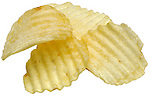 close up of ridged ruffle potato chips on shadowless white background