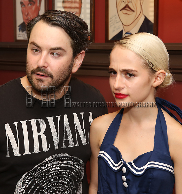 Alex Brightman and Sophia Anne Caruso during the Sophia Anne Caruso Sardi's Portrait Unveiling at Sardi's on July 10, 2019 in New York City.