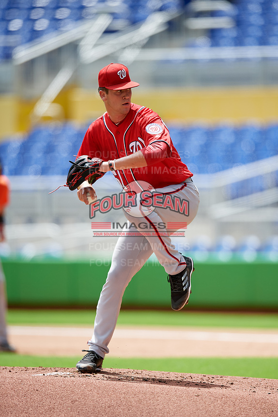 Washington Nationals starting pitcher Mason Denaburg (51) delivers a pitch during a Florida Instructional League game against the Miami Marlins on September 26, 2018 at Marlins Park in Miami, Florida.  (Mike Janes/Four Seam Images)