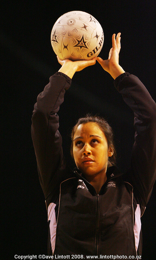 Daneka Wipiiti warms up during the New World International Netball Series match between the New Zealand Silver Ferns and Australia at Westpac Arena, Christchurch, New Zealand on Wednesday, 17 September 2008. Photo: Dave Lintott / lintottphoto.co.nz