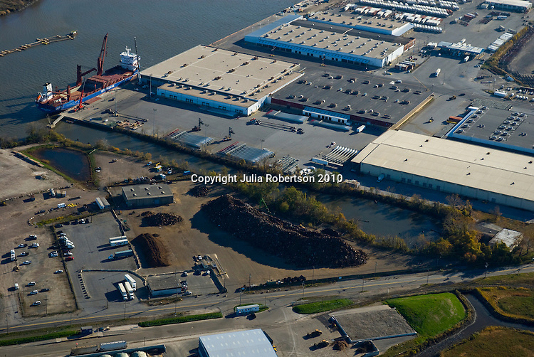 Aerial views of the Delaware Valley area. Aerial view of Scrap Metal Exporting Facility at the Port of Wilmington, Delaware.<br />
