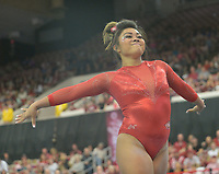 NWA Democrat-Gazette/ANDY SHUPE<br /> Arkansas' Jessica Yamzon competes in the floor Saturday, Jan. 5, 2019, during the Razorbacks' meet with No. 2 Oklahoma in Barnhill Arena in Fayetteville. Visit nwadg.com/photos to see more photographs from the meet.