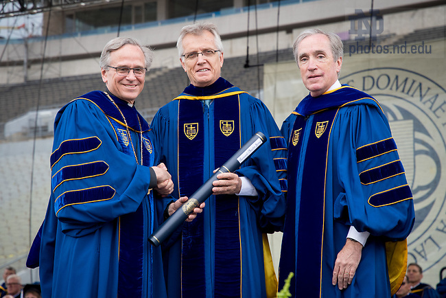 May 21, 2017; Rev. Martin Junge receives an honorary degree at Commencement 2017. (Photo by Matt Cashore/University of Notre Dame)