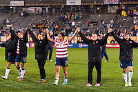 United States (USA) player salute the fans after the match. The United States (USA) and Germany (GER) played to a 2-2 tie during an international friendly at Rentschler Field in East Hartford, CT, on October 23, 2012.