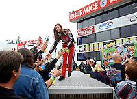 Feb 9, 2014; Pomona, CA, USA; NHRA top fuel dragster driver Leah Pritchett during the Winternationals at Auto Club Raceway at Pomona. Mandatory Credit: Mark J. Rebilas-