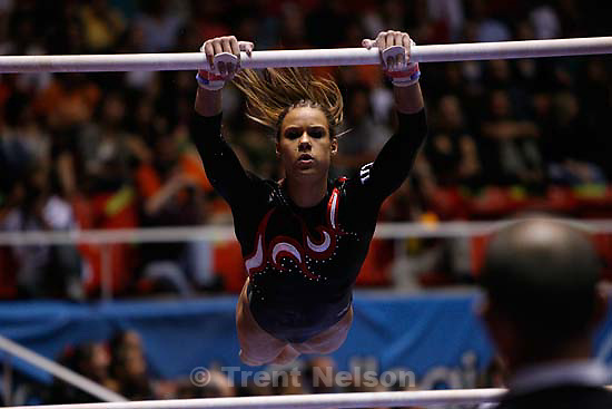 utah's ashley postell. NCAA Women's Gymnastics Championships at the Huntsman Center