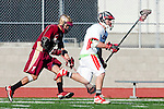Palos Verdes, CA 03/17/10 - Jonathan Flores (Downey # 7) and Michael Cocke (PV # 5) in action during the Downey-Palos Verdes CIF sanctioned game at Palos Verdes High School, PV defeated Downey 17-6.