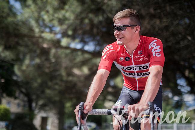 Moreno Hofland (NED/Lotto-Soudal) pre-stage<br /> <br /> Stage 17: Tirano &rsaquo; Canaze (219km)<br /> 100th Giro d'Italia 2017