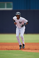 GCL Yankees East Kevin Alcantara (30) leads off during a Gulf Coast League game against the GCL Phillies West on July 26, 2019 at the New York Yankees Minor League Complex in Tampa, Florida.  (Mike Janes/Four Seam Images)