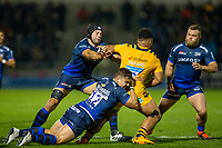 8th November 2019; AJ Bell Stadium, Salford, Lancashire, England; English Premiership Rugby, Sale Sharks versus Coventry Wasps; Rohan Janse van Rensburg of Sale Sharks tackles Sione Vailanu of Wasps - Editorial Use