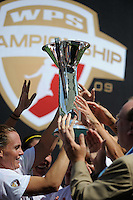 Sky Blue FC players lift the trophy after betaing Los Angeles Sol 1-0 at the Home Depot Center on Saturday, Aug. 22. 2009, in Carson, California. .