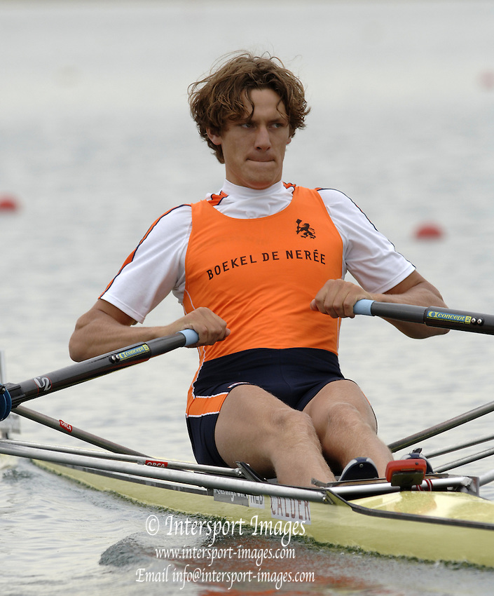 2005 FISA World Cup, Dorney Lake, Eton, ENGLAND, 26.05.05.  NED M1X Sjoerd Hamburger, at the start area.. Photo  Peter Spurrier. .email images@intersport-images[Mandatory Credit Peter Spurrier/ Intersport Images] , Rowing Courses, Dorney Lake, Eton. ENGLAND