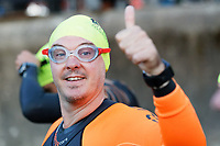 Pictured: An athlete gives the thumbs up. Sunday 15 September 2019<br /> Re: Ironman triathlon event in Tenby, Wales, UK.