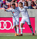 Los Angeles FC forward Diego Rossi (9) celebrates his first of two goals with Los Angeles FC defender Steven Beitashour (3) against Real Salt Lake in the first half Saturday, March 10, 2018, during the Major League Soccer game at Rio Tiinto Stadium in Sandy, Utah. LAFC beat RSL 5-1. (© 2018 Douglas C. Pizac)