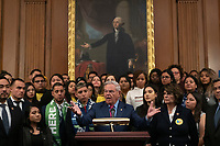 United States Senator Bob Menendez (Democrat of New Jersey), joined by Democratic lawmakers, speaks during a press conference on the Deferred Action for Childhood Arrivals program on Capitol Hill in Washington D.C., U.S. on Tuesday, November 12, 2019.  The Supreme Court is currently hearing a case that will determine the legality and future of the DACA program.  <br /> <br /> Credit: Stefani /CNP /MediaPunch