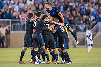 STANFORD, CA - JUNE 29: Earthquakes Players' goal celebration during a Major League Soccer (MLS) match between the San Jose Earthquakes and the LA Galaxy on June 29, 2019 at Stanford Stadium in Stanford, California.