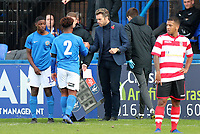 Macclesfield Town Manager Daryl McMahon congratulates a player as they are substituted during Macclesfield Town vs Kingstonian, Emirates FA Cup Football at the Moss Rose Stadium on 10th November 2019