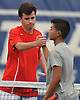 Colin Sacco of Chaminade, left, shakes hands with Jeremy Carlos of St. Anthony's after their first singles match in the NSCHSAA varsity boys tennis team championship at Hofstra University on Tuesday, May 10, 2016. Sacco won the match to lead Chaminade to the league title.